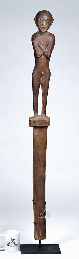 "Early 20th C. Ifugao Wood Guardian Figure - 45"" Tall"