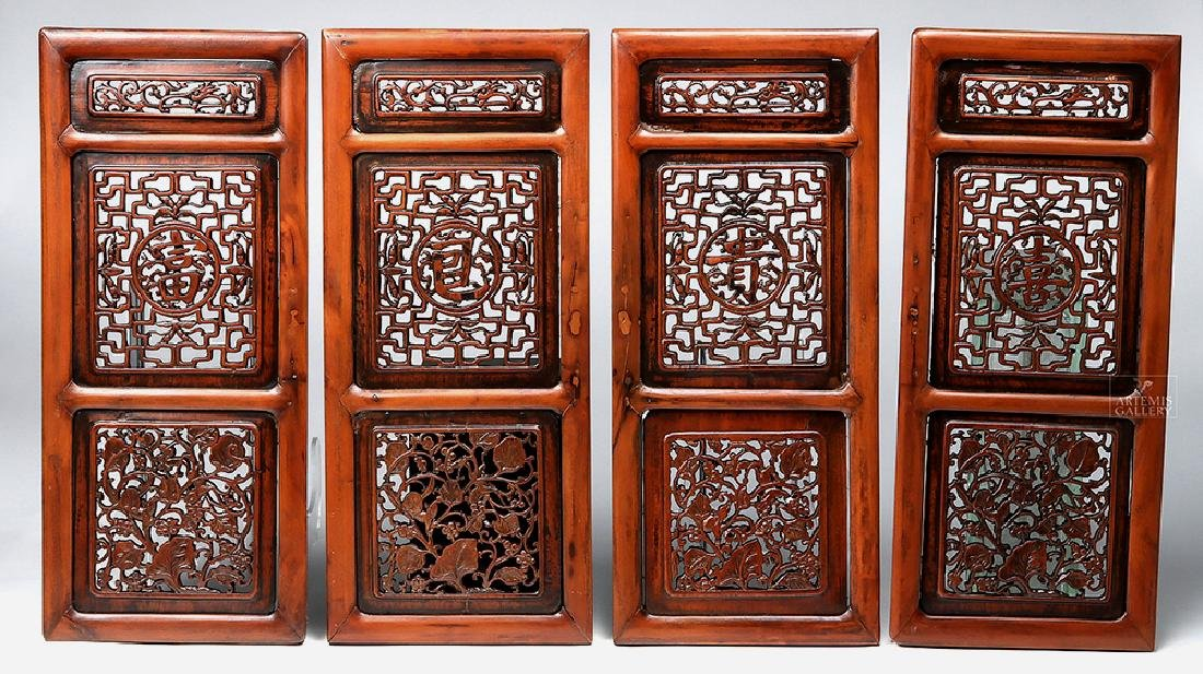 19th C. Chinese Wood Windows - Set of 4