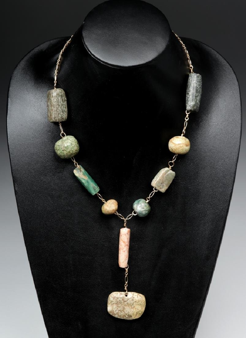 Wearable Mayan Stone Beaded Gold Chain Necklace
