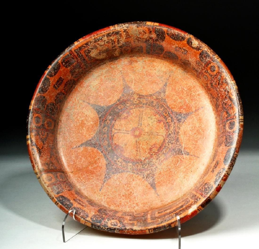 Mayan Pottery Tripod Plate w/ Large Star