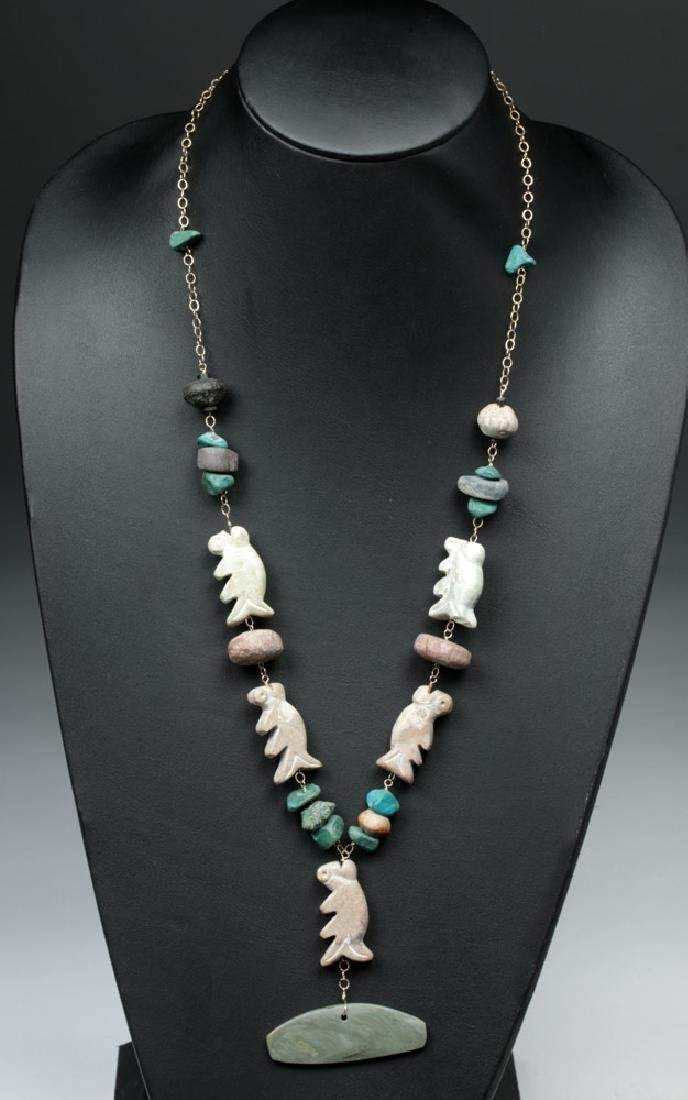 """Wearable Pre-Columbian """"Fish"""" Stone Necklace"""