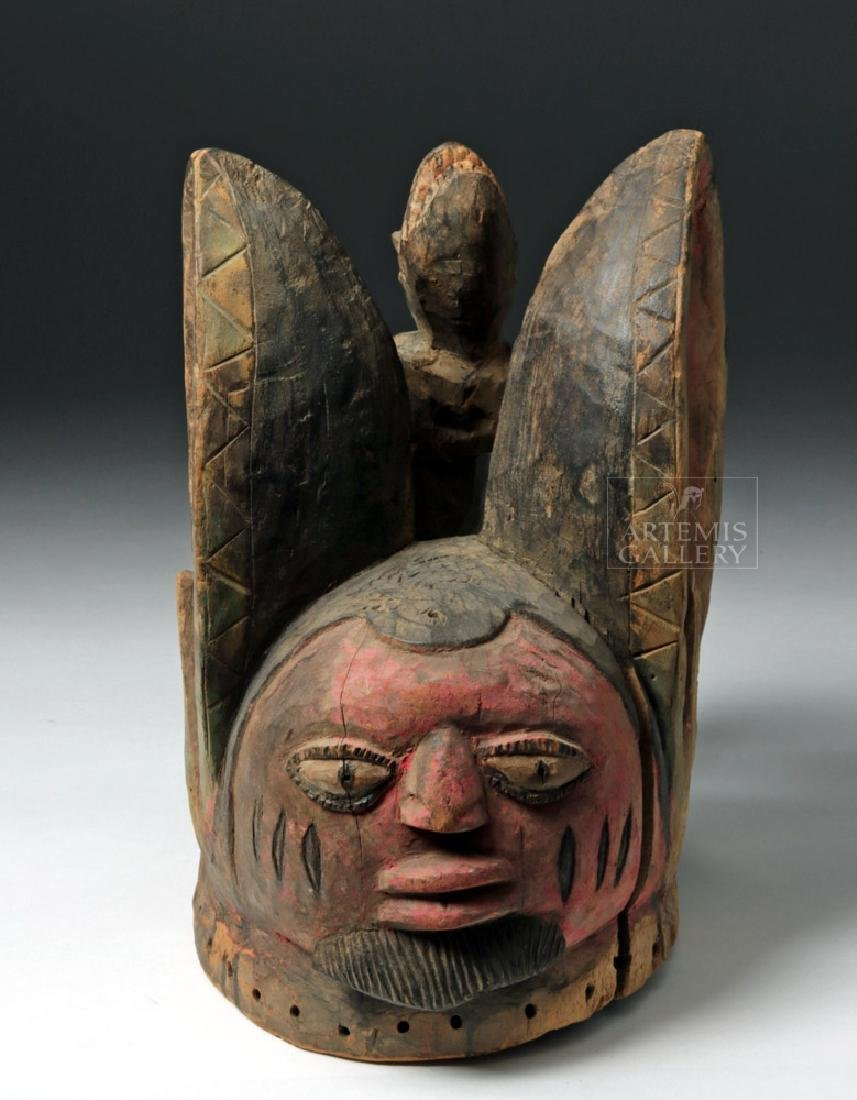 Mid-20th C. African Yoruba Wooden Egungun Helmet Mask