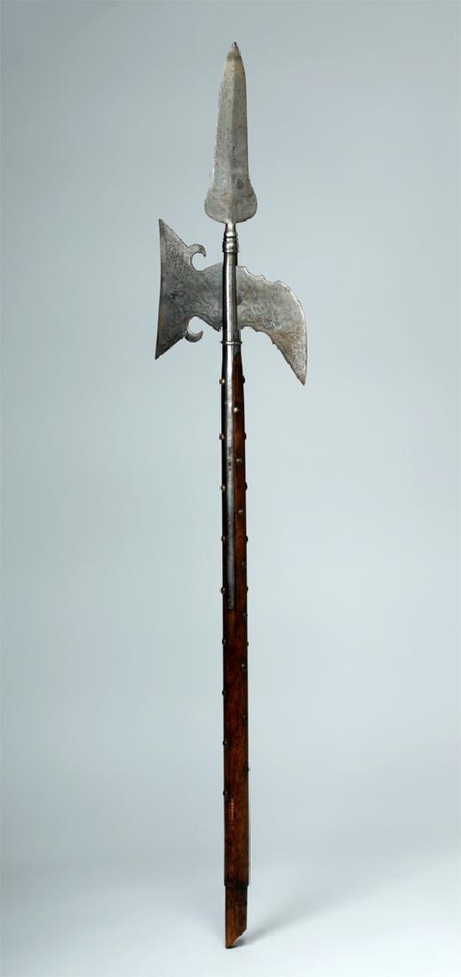 18th C. British Iron Halberd w/ Wood Pole
