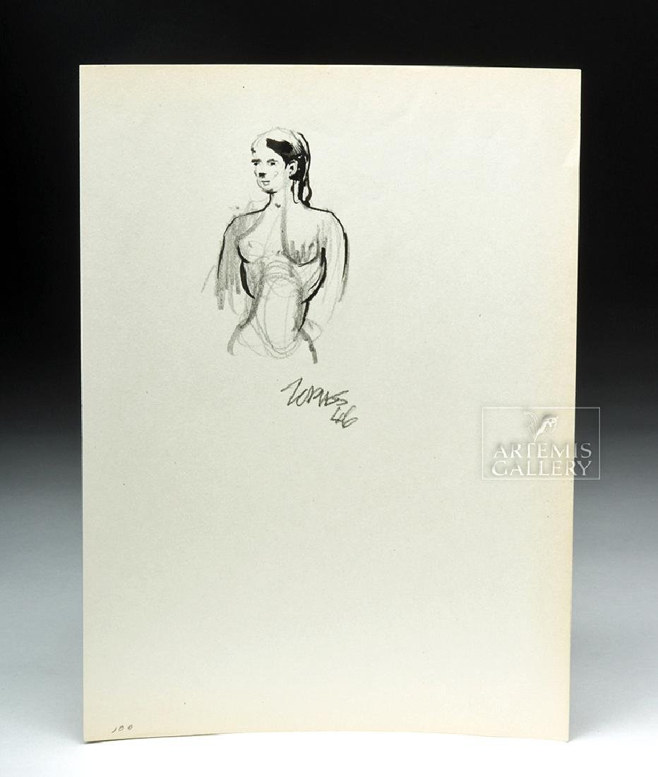 Milford Zornes Pencil & Ink Drawing - Nude, 1946