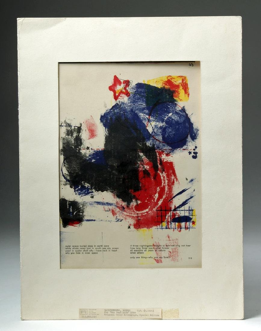 Rauschenberg Color Lithograph for One Cent Life - 1964