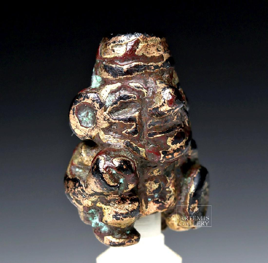Miniature Moche Gilded Copper Kneeling Warrior
