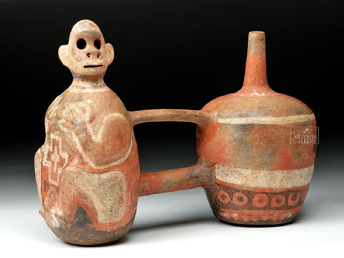 Vicus Pottery Double Vessel w/ Monkey