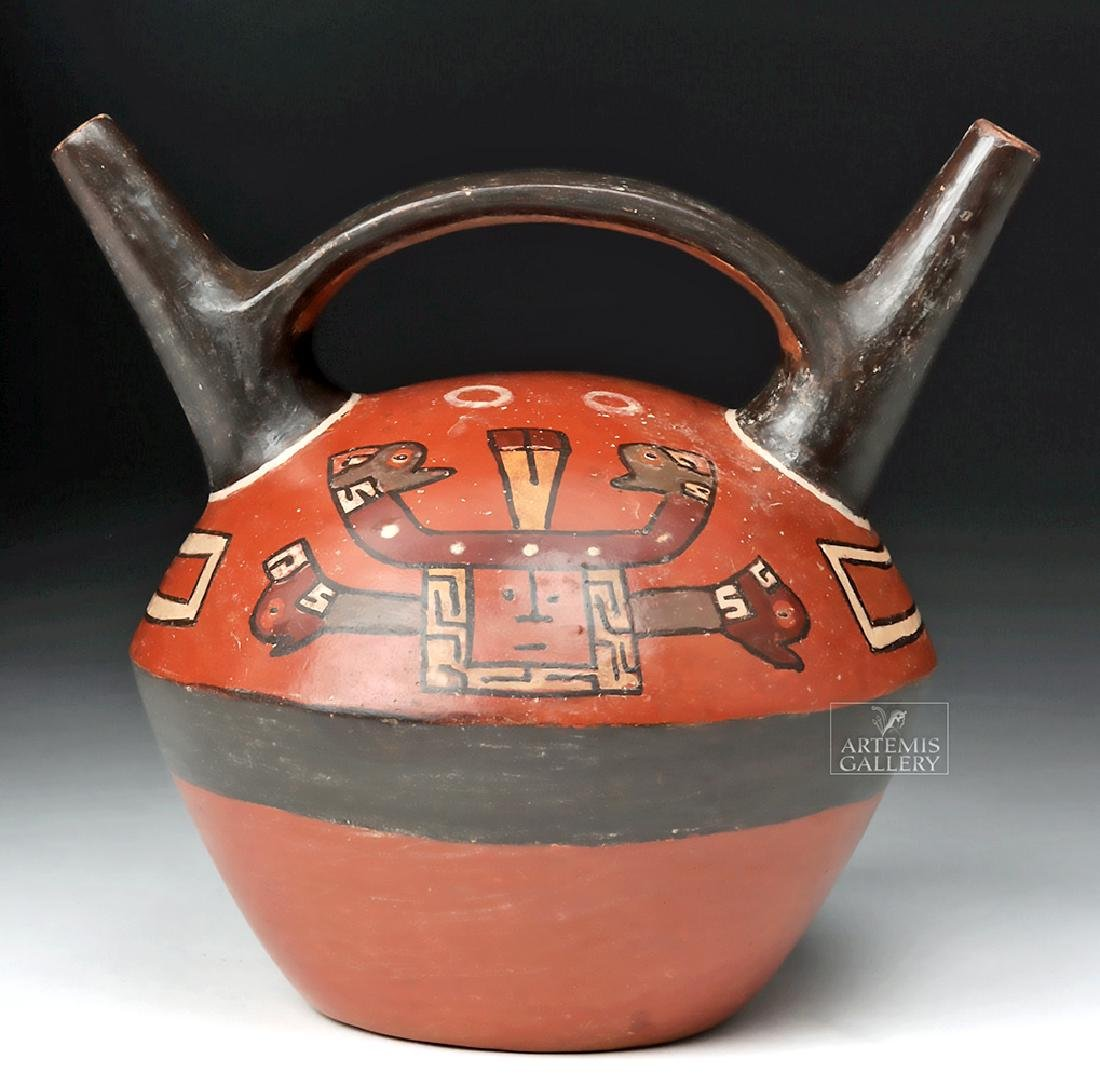 Huari Pottery Polychrome Stirrup Vessel - Serpent Heads