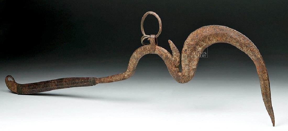 Early 20th C. African Sickle-Form Iron Throwing Knife