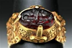 Byzantine 14K Gold Ring w Garnet Ibexes Intaglio