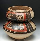 Panamanian Tonosi Double-Tiered Polychrome Vessel