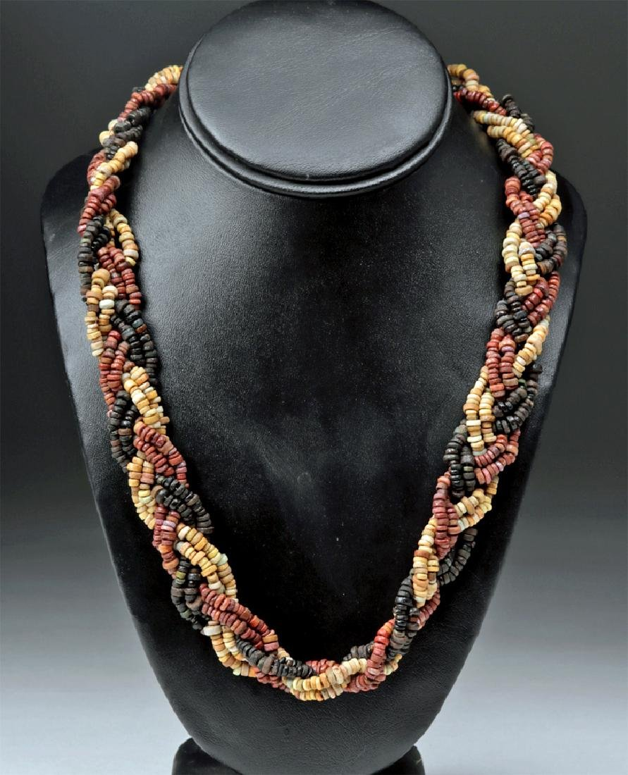Egyptian Faience Bead Necklace - Braided Strands
