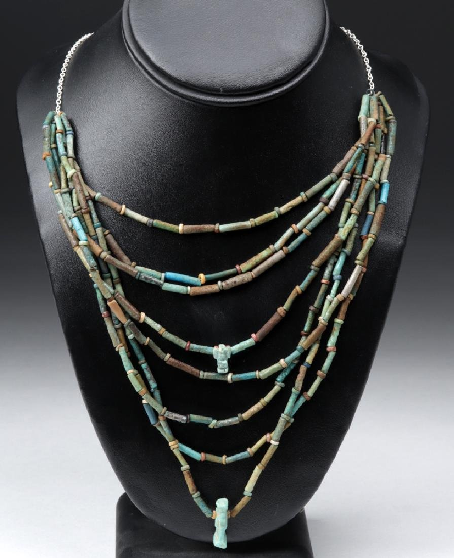 Egyptian Faience 8 Strand Layered Necklace w/ 2 Amulets