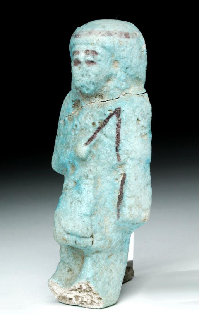 Egyptian Faience Overseer Ushabti w/ Whip - 2