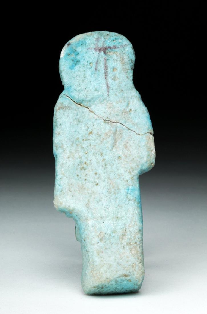 Egyptian Faience Overseer Ushabti w/ Whip - 4