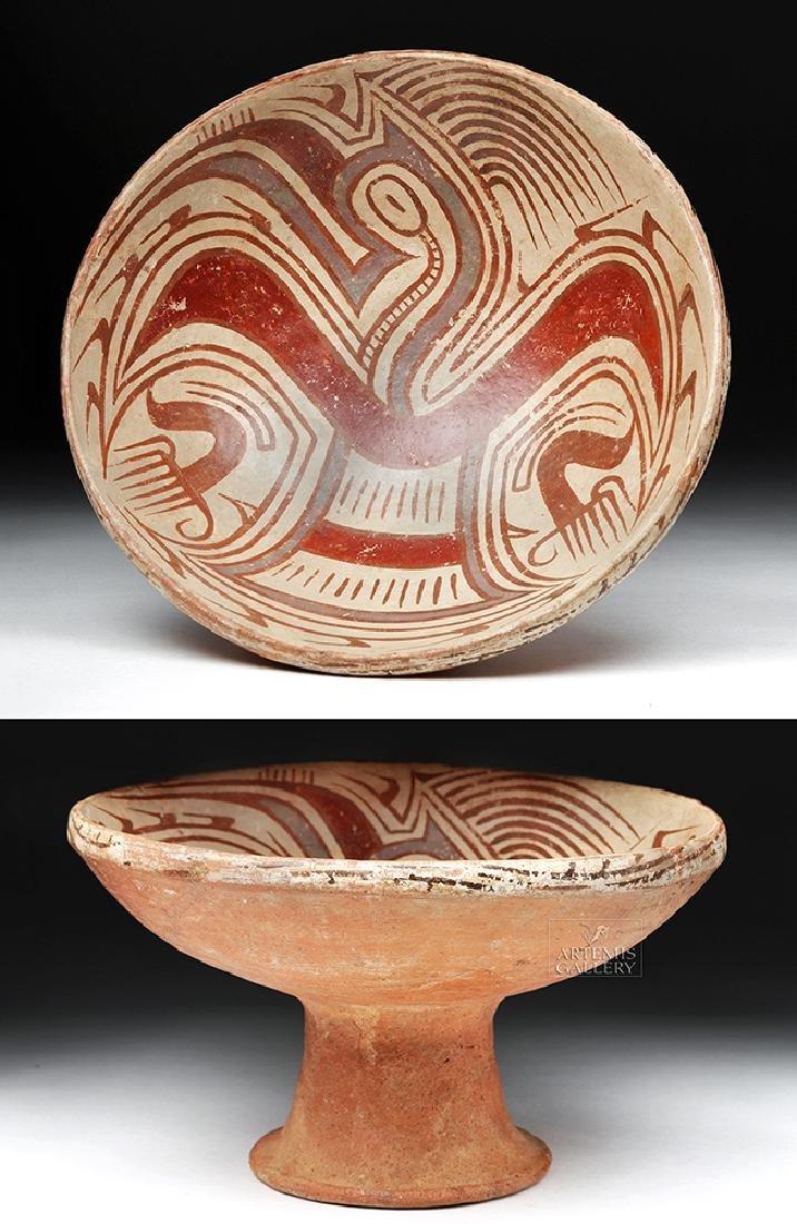Panamanian Cocle Polychrome Pedestal Dish - Bird