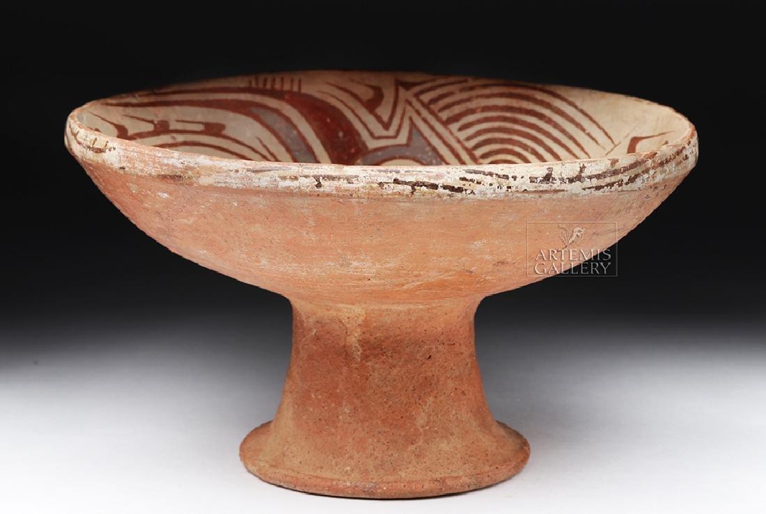 Panamanian Cocle Polychrome Pedestal Dish - Bird - 8