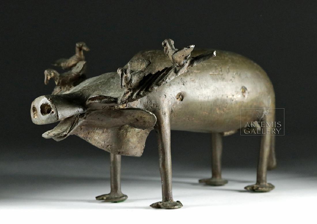 Early 20th C. Yoruban Bronze Water Buffalo w/ Birds