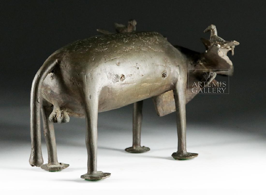 Early 20th C. Yoruban Bronze Water Buffalo w/ Birds - 4