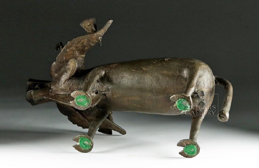 Early 20th C. Yoruban Bronze Water Buffalo w/ Birds - 6