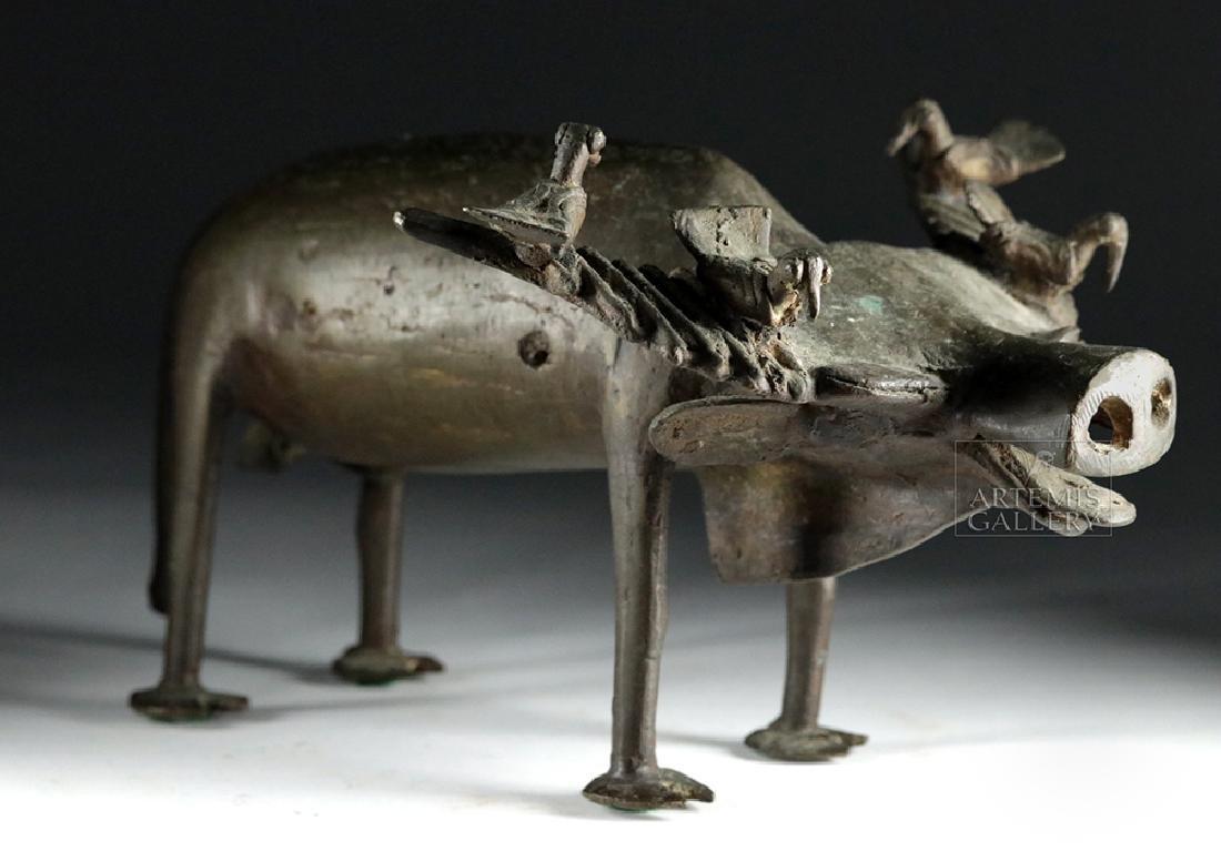 Early 20th C. Yoruban Bronze Water Buffalo w/ Birds - 8