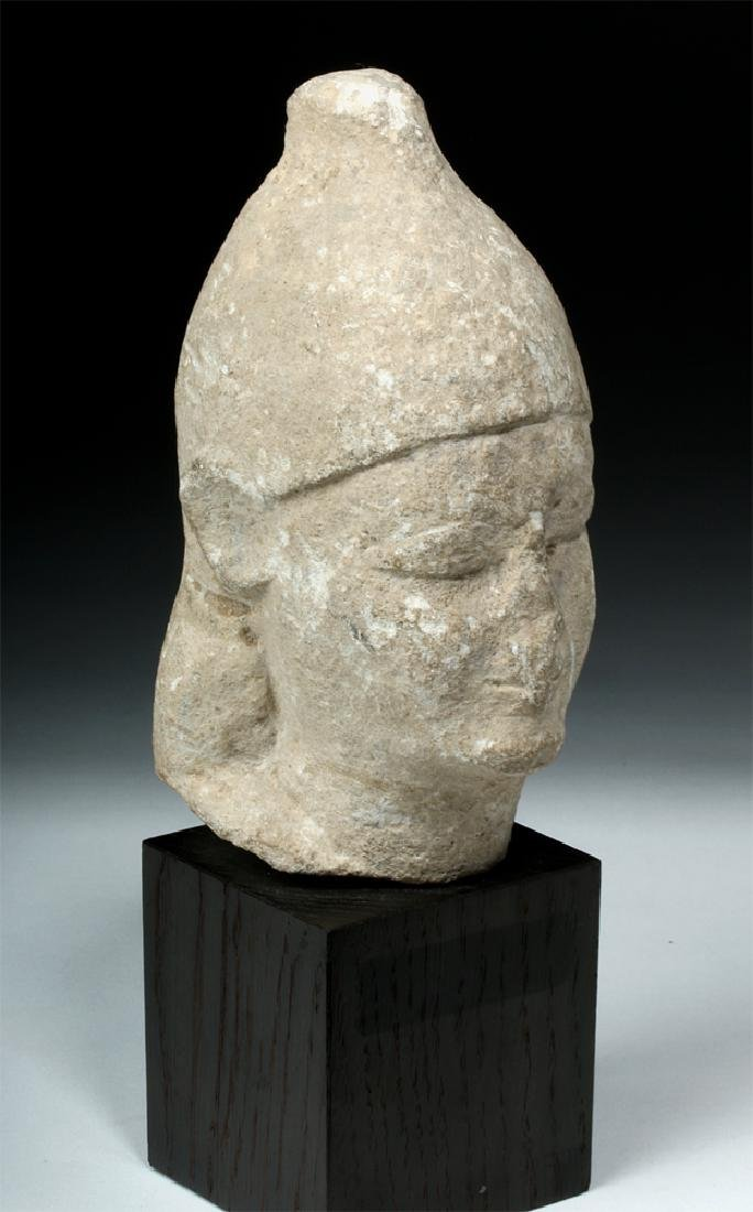 Cypriot Limestone Head of a Male Votary