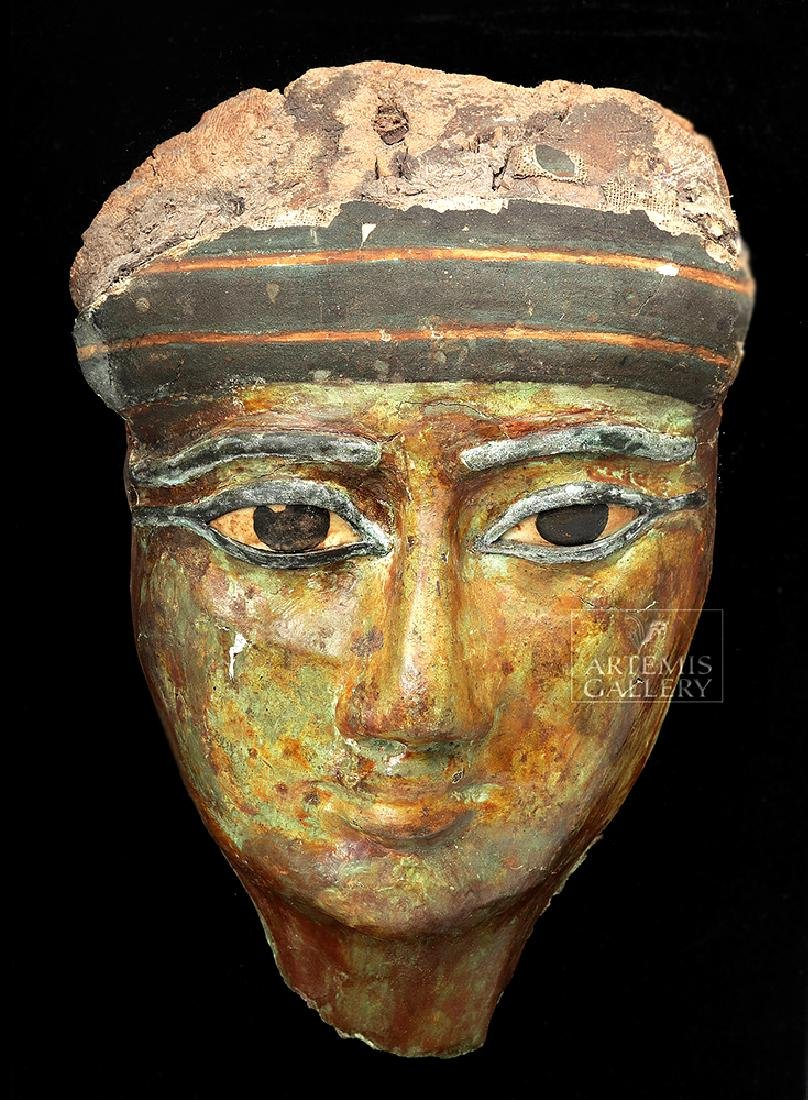 Egyptian Sarcophagus Mask w/ Stone & Bronze Eyes