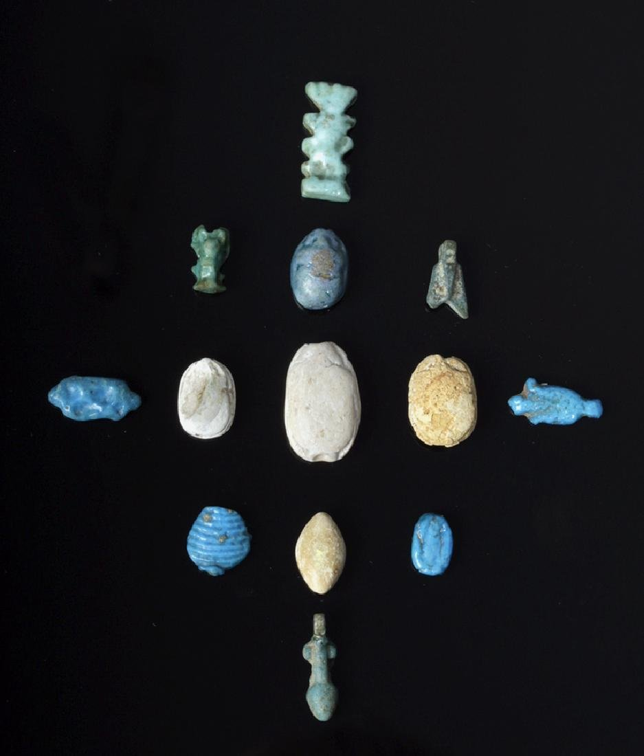 Lot of 13 Egyptian Faience Amulets & Scarabs
