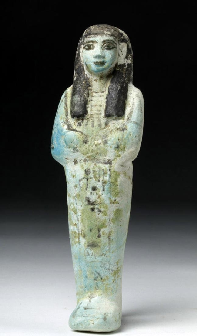 Egyptian Faience Ushabti w/ Black Hieroglyphs