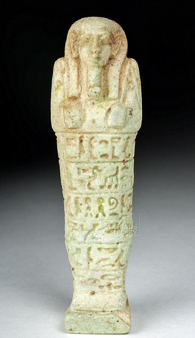 Egyptian Faience Ushabti - Extensive Hieroglyphs