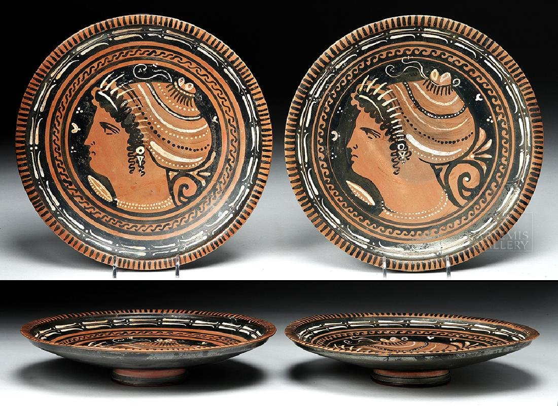 Pair Greek Apulian Pottery Plates - ex Christie's