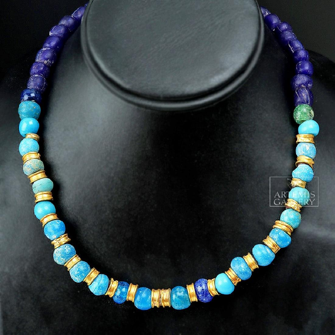 Hellenistic Greek 20K+ Gold / Glass Bead Necklace