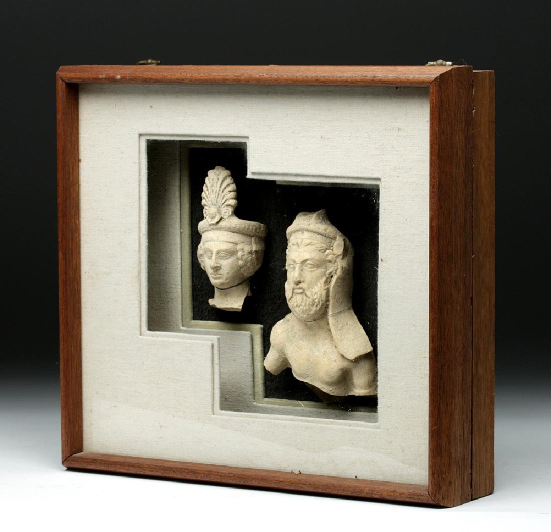 Pair of Framed Greek Terracotta Sculptures