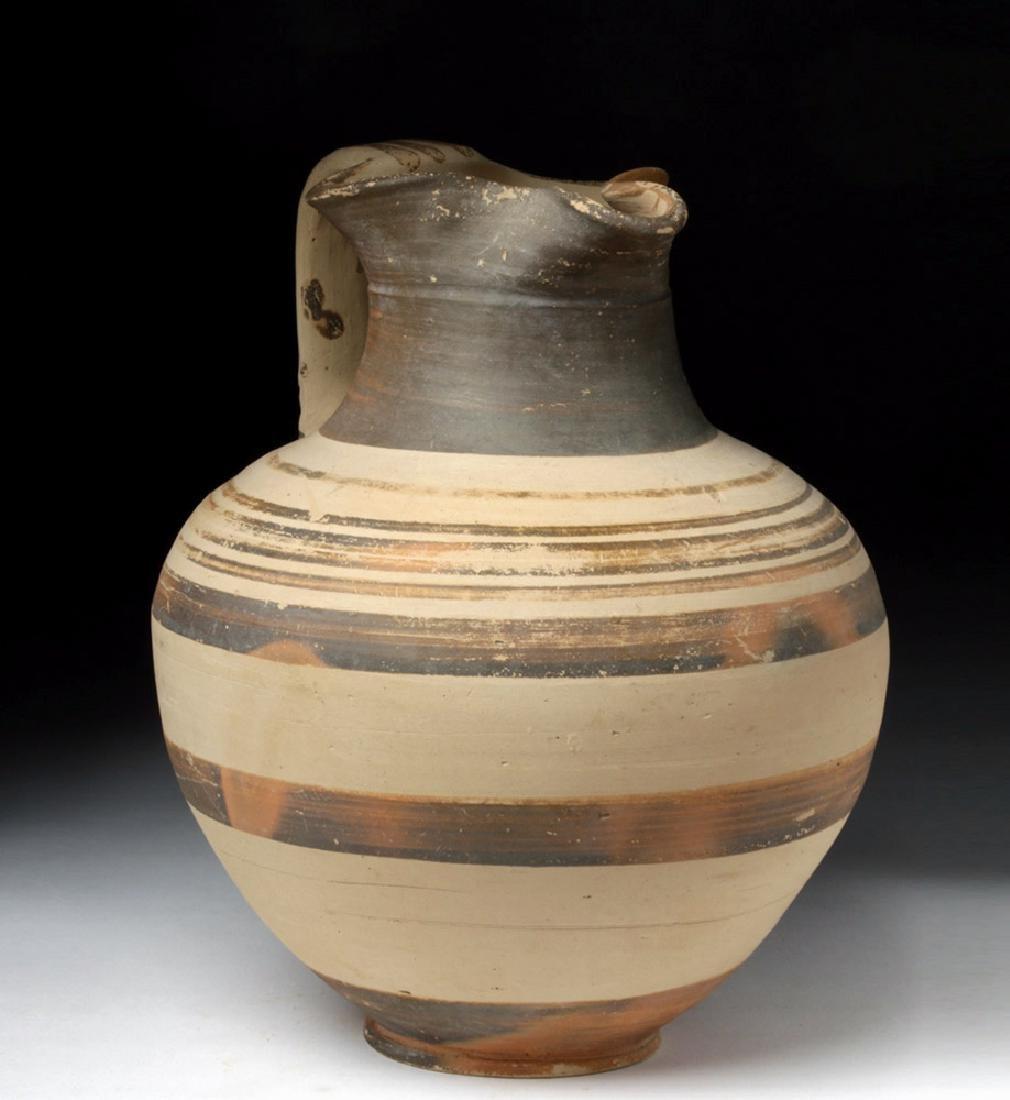 Greek Bichrome Terracotta Pitcher - Intact!