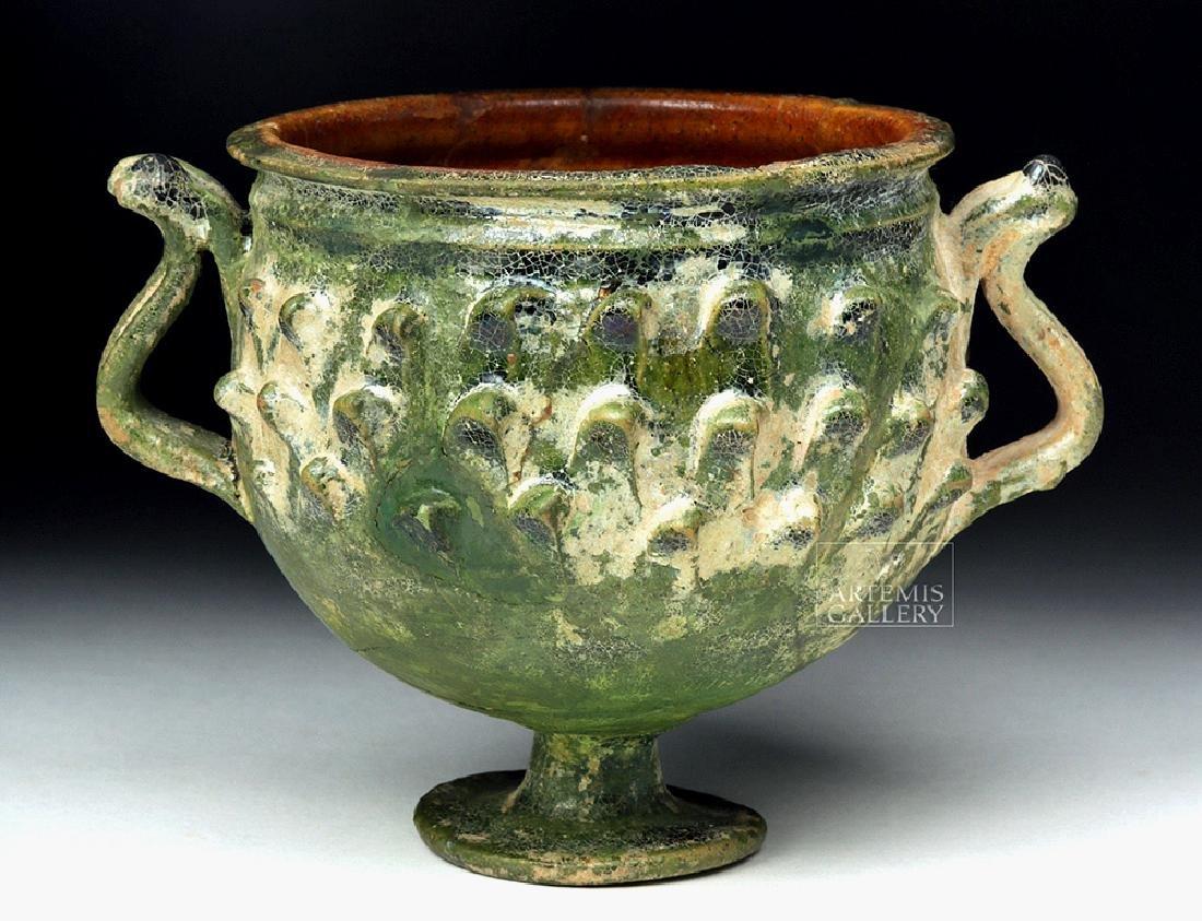 Roman Green Glazed Pottery Chalice Pinecone Scales