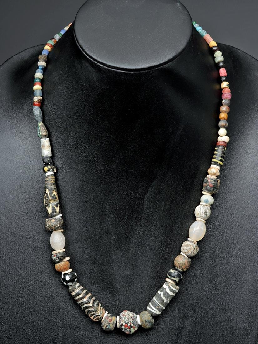 Ancient Roman Glass, Ceramic, & Stone Bead Necklace