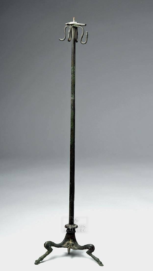 Tall Roman Bronze Lamp Stand
