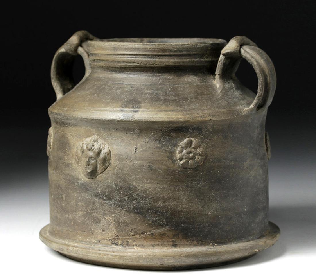 Rare Roman Greyware Pyxis w/ Floral Appliques