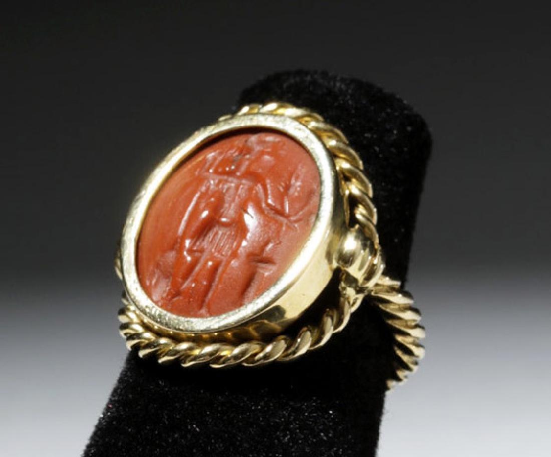18K Gold Ring w/ Ancient Roman Jasper Intaglio