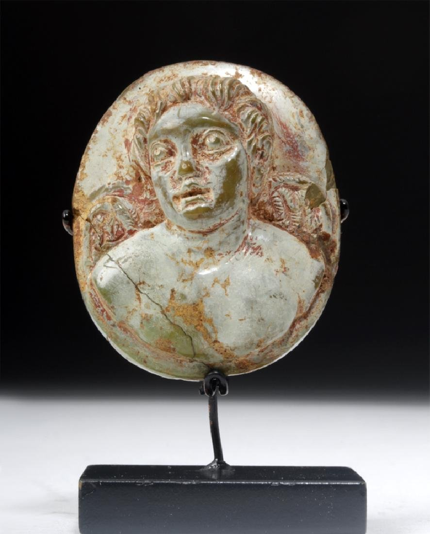Roman Carved Turquoise Cameo - Bust of Eros