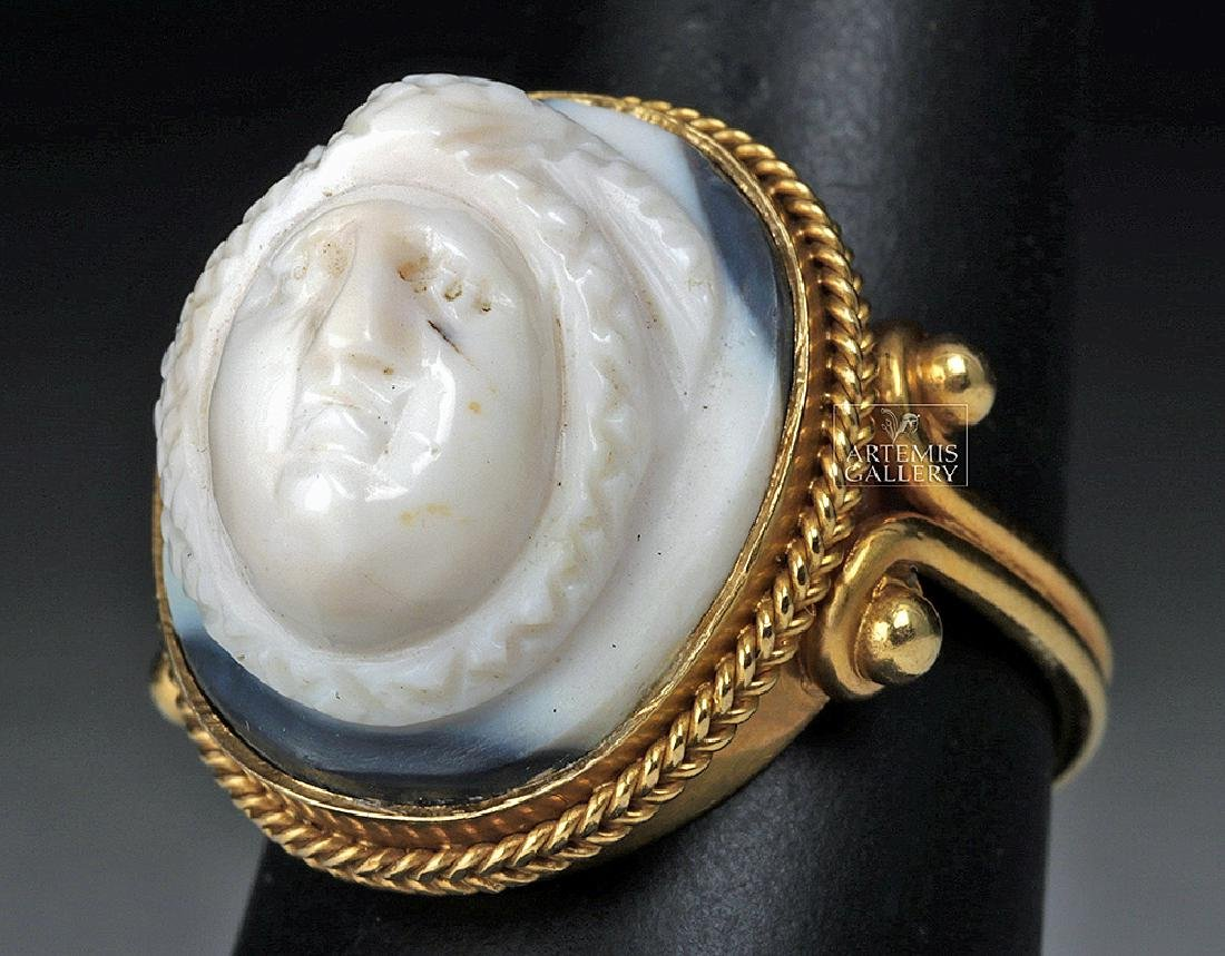 Roman 22K Gold Ring w/ Sardonyx Cameo, ex-Christies