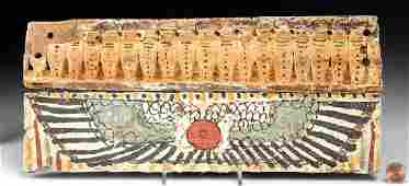 Egyptian Wooden Sarcophagus Panel with Cobras