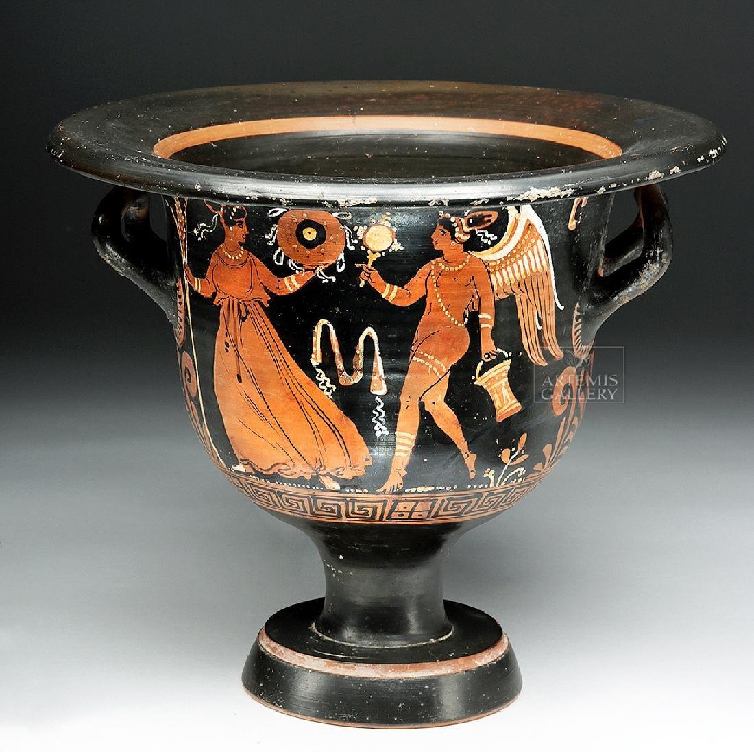 Greek Apulian Bell Krater - Eros & Maenad
