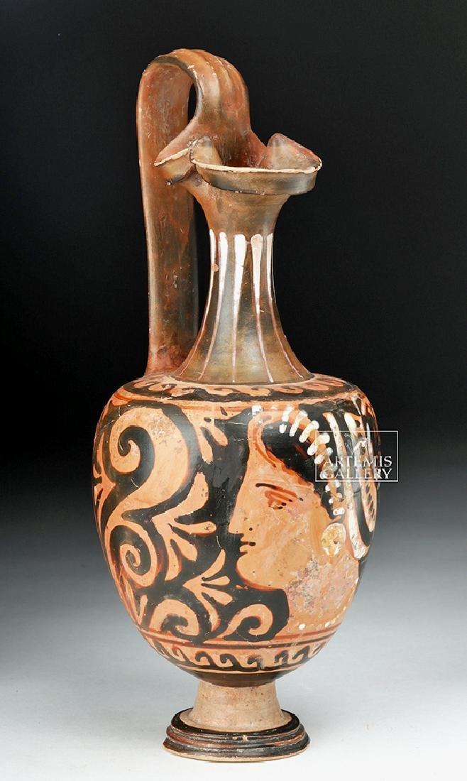 Greek Apulian Red-Figure Oinochoe w/ Lady of Fashion
