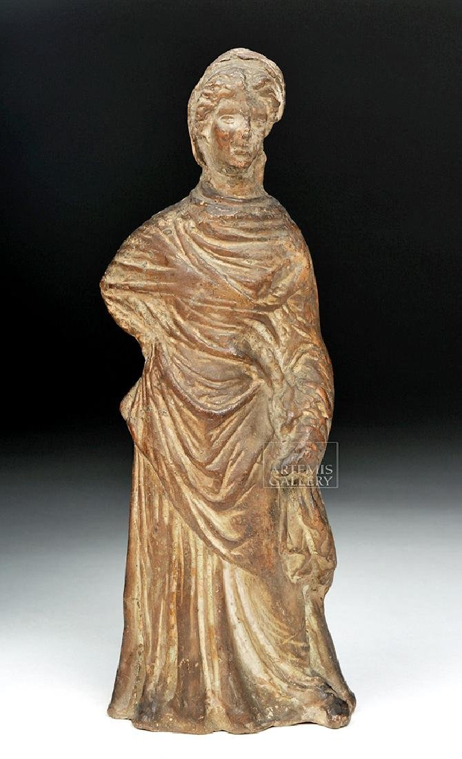 Greek Tanagra Terracotta Statue of a Woman