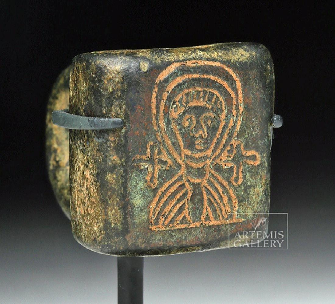 Small Byzantine Bronze Stamp w/ Saintly Image
