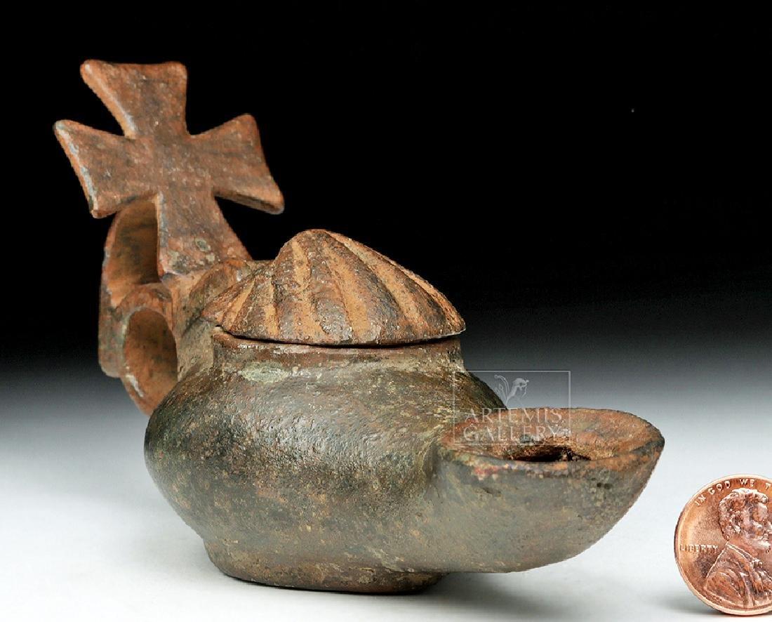 Byzantine Bronze Lidded Pilgrim's Oil Lamp