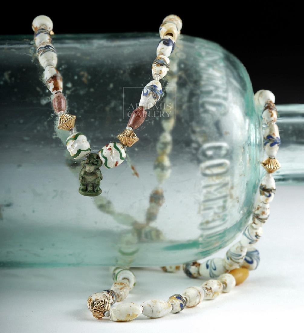Ancient Roman & Egyptian Glass & Faience Bead Necklace