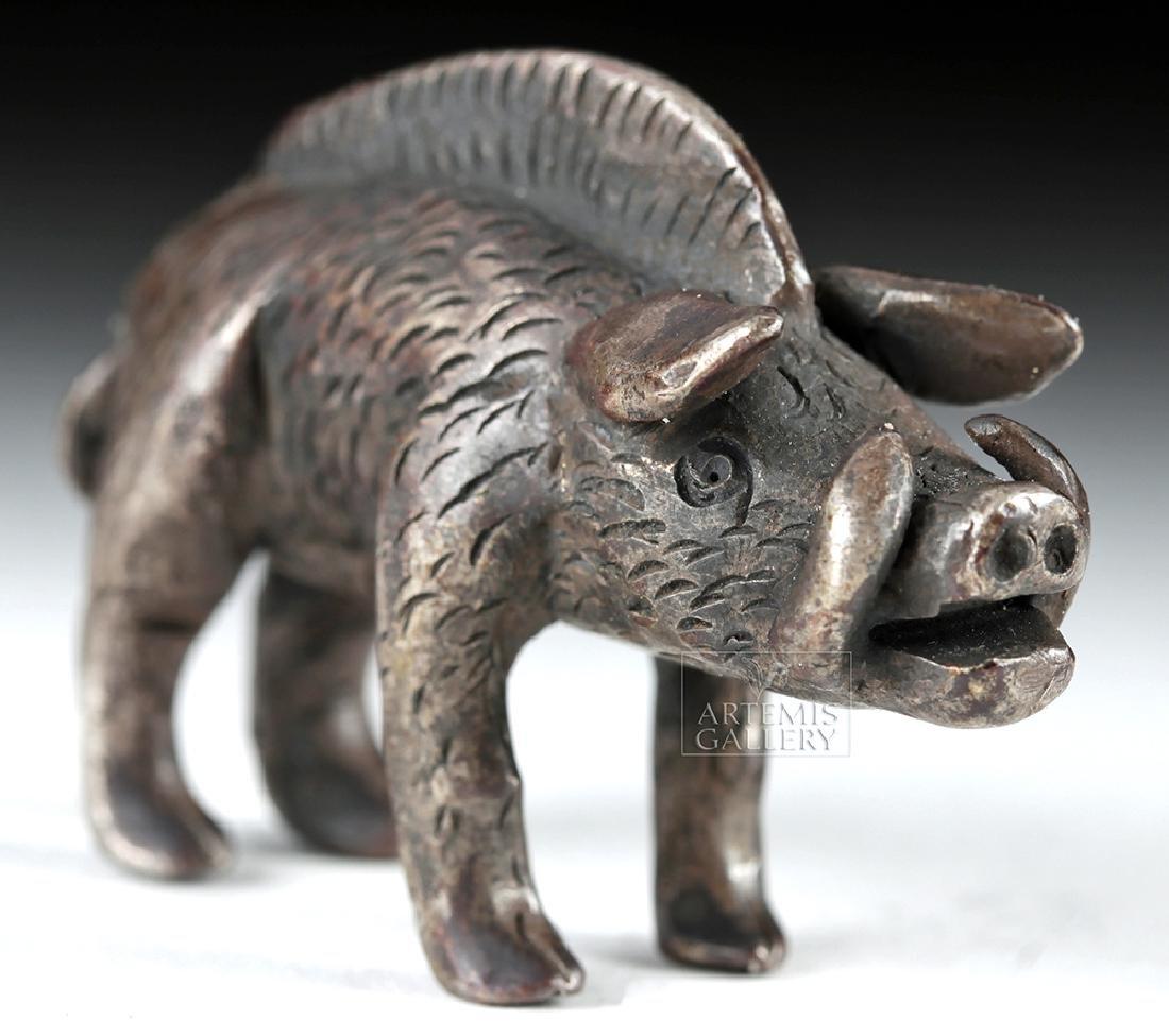 Miniature Roman Silver Figure of a Boar - 54.7 grams