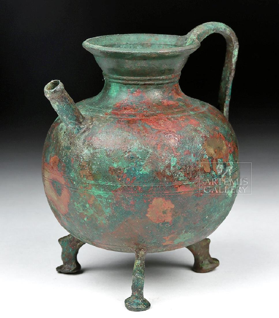 Roman Bronze Footed Vessel with Spout